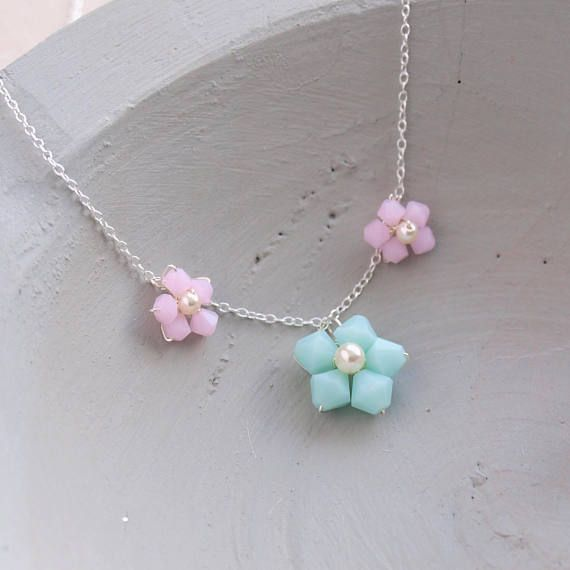 Pastel Flower Necklace Pink and Mint Crystal necklace