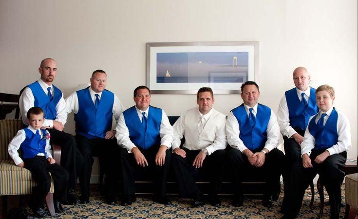 Groomsmen black pants and blue vests on pinterest