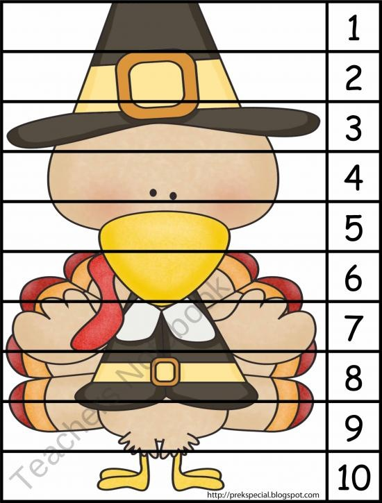 Turkey Puzzle from Pre K is Special on TeachersNotebook.com (1 page)  - This is a number puzzle appropriate for Pre-K and K children.