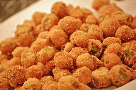 Southern Living Buttermilk Fried Okra~ 1 lb fresh okra, cut into 1/2-inch slices, 3/4 cup buttermilk*, 1 1/2 cups self-rising white cornmeal mix, 1 tsp. salt, 1 tsp. sugar, 1/4 tsp. ground red pepper, Vegetable oil