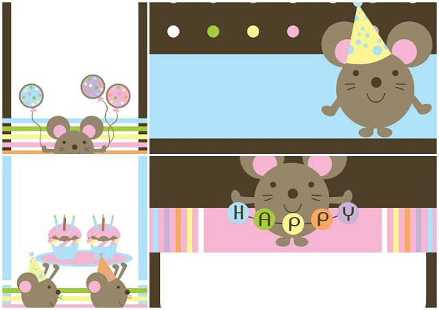 Baby Mice: Free Printable Invitations.