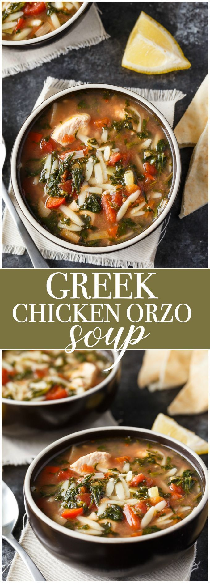 Greek Chicken Orzo Soup - Comfort food made in the slow cooker. This delicious soup has a Greek twist and is packed full of flavour. #ad