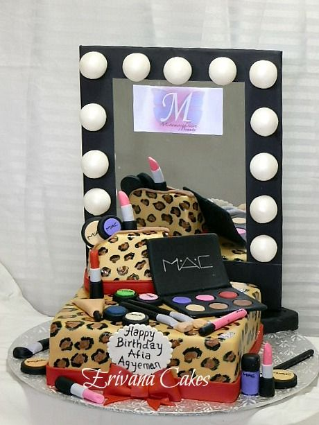 MAC makeup kit with Mirror on Leopard Skin Cake