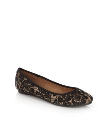 Wide Fit Black Lace Ballet Pumps