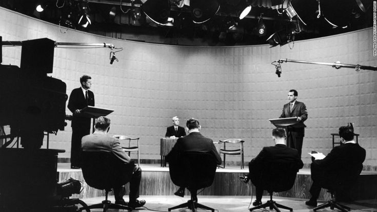 """Photos: The first televised debates - CNN.com  The 1960 campaign for the White House is often called the first """"modern"""" presidential election. It's been more than 50 years since the first televised presidential debates in American history, but the four TV showdowns between John F. Kennedy and Richard Nixon in the fall of 1960 still hold a prominent — and well-deserved — place in United States political lore."""