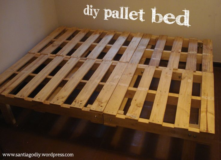 Pallets bolted together with carriage bolts to create the frame.