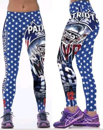 New England Patriots Leggings S/M Tom Brady MVP #12 Superbowl Football Yoga