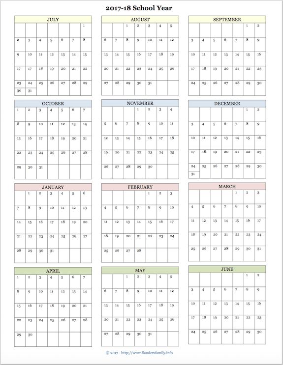 Charming Free Printable Academic Calendar For 2017 2018 School Year Gallery