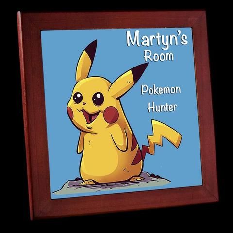 Personalised Pikachu Pokemon Sign Framed Tile