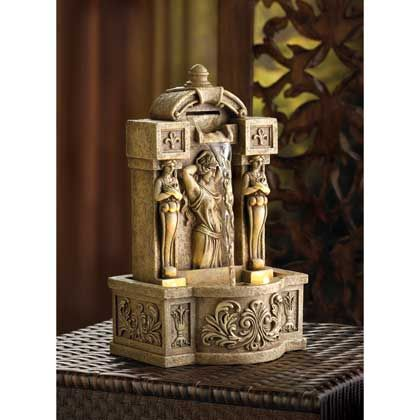 14772+Roman+Courtyard+Fountain The images of classic statuary adds their timeless beauty to a Faux stone tabletop fountain. SKU14772 Weight3.2 lb Price$49.95 Sale Price$31.49