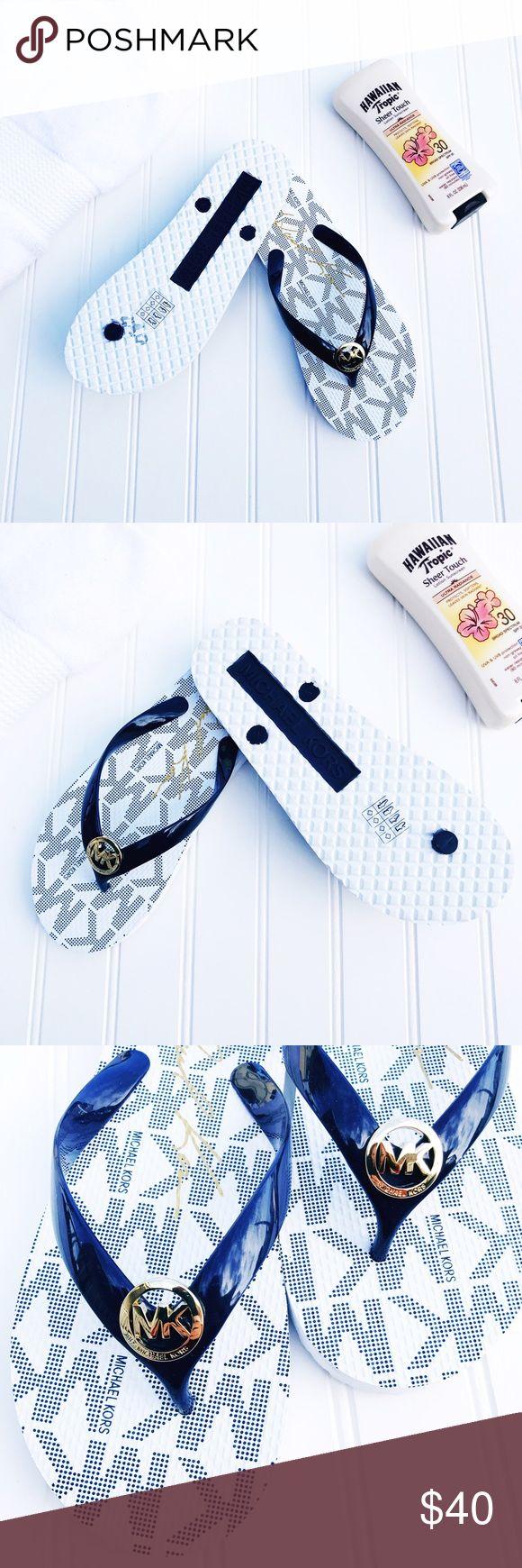 Michael Kors Blue And White Flip Flops NWOB Michael Kors Blue And White Flip Flops.  No box. Michael Kors Shoes Sandals