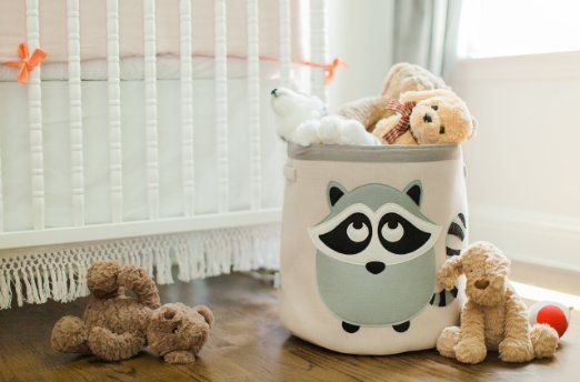 Amazon.com : Canvas Storage Bin for Nursery or Kids Room | Animal Theme Collapsible| Great for Play Toys, Organizing, Laundry Hamper, Jungle, or Forest Themed Décor | Grey Raccoon : Baby