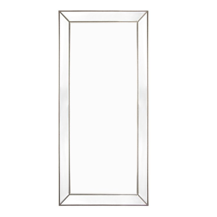 Zanthia Floor Mirror 900mm L x 50mm W x 2000mm H This beautiful antique style floor mirror has a silver beaded frame with clear mirror glass. It is finished with a generous 25mm bevelled edge. Can be wall hung or used as a leaner mirror.
