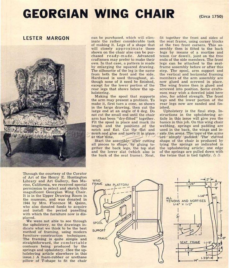 #157 Georgian Wing Chair Plans - Furniture Plans