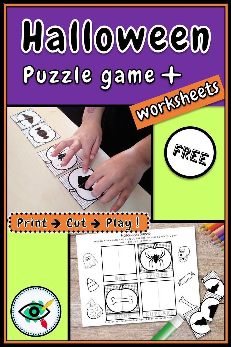 Halloween Puzzle Holiday Symbols Planerium In 2020 Puzzle Games For Kids Halloween Puzzles Preschool Games