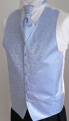 Classic Scroll Men's/Boys' Wedding Waistcoat & Cravat Set - Pale Blue