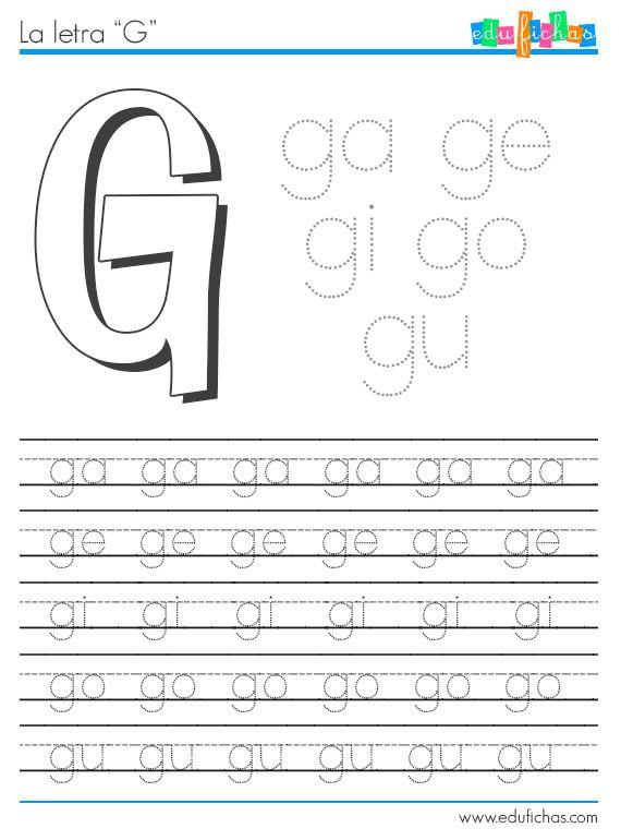 Sílabas con G  http://www.edufichas.com/actividades/lectoescritura/silabas/silabas-con-g-gl-y-gr/  #silabas #silabario #preescolar #aprender