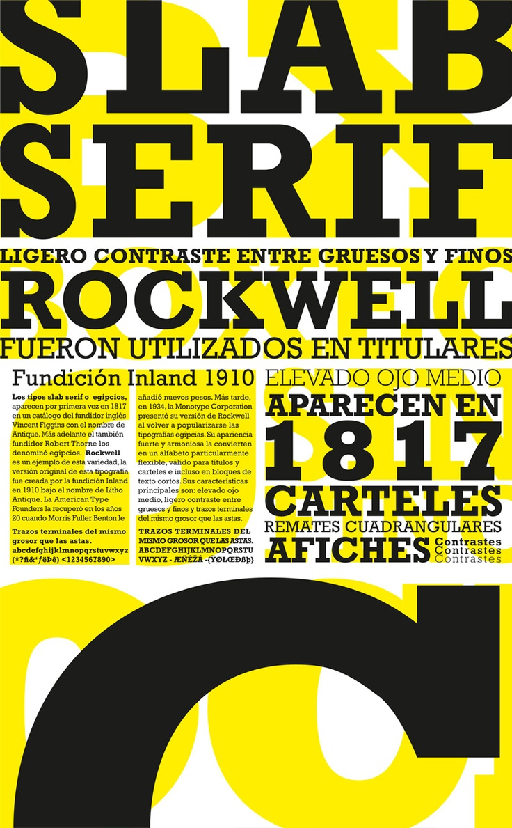 Tipografía 1, cátedra Gaito Sábados, afiche sobre tipografía Rockwell.
