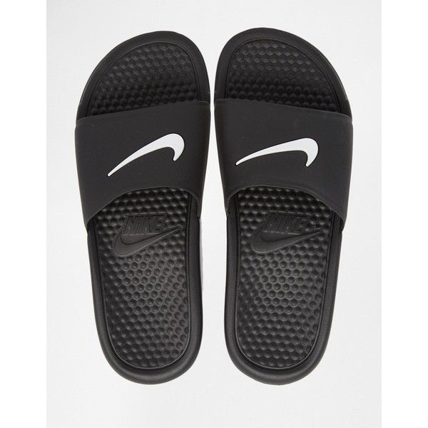 Nike Black Benassi Pool Slider Flat Sandals ($22) ❤ liked on Polyvore featuring shoes, sandals, nike, strap flat sandals, slip on sandals, slip-on shoes, flat sandals and strappy sandals