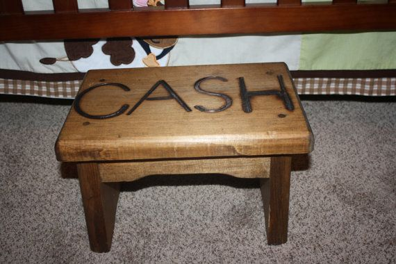 Personalized Western Kids Stepping Stool Rustic Decor
