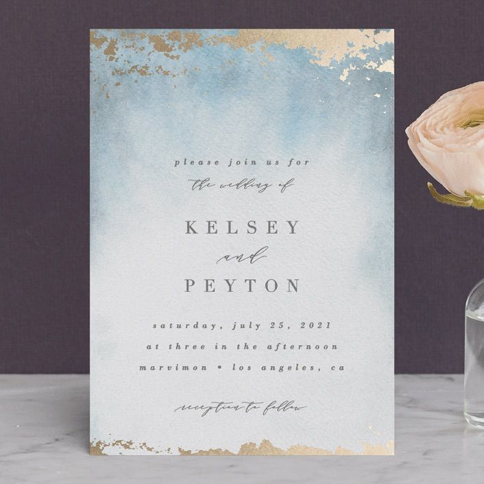 Ethereal Wash foil pressed wedding invitation design by