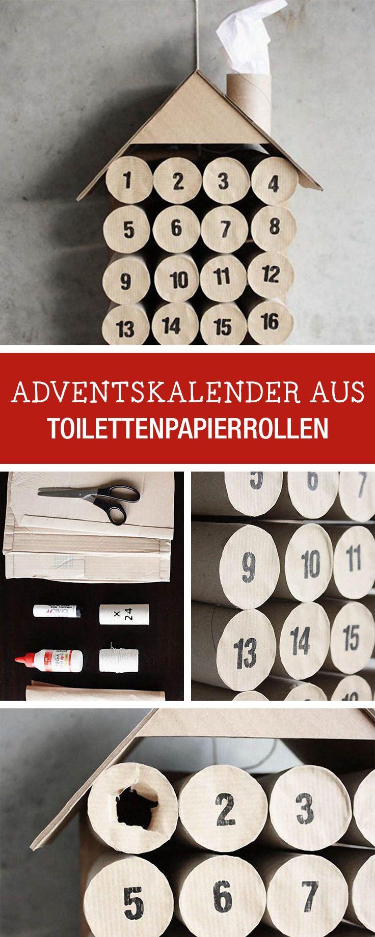 DIY-Anleitung für einen Adventskalender aus Toilettenpapierrollen / last minute advents calendar made of paper rolls via DaWanda.com