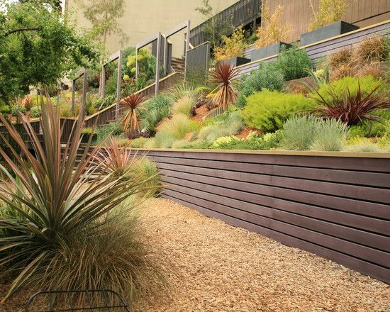 wooden retaining wall design ideas modern landscape