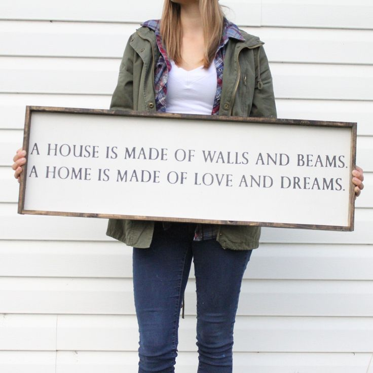 A House is Made of Walls and Beams | Wood Sign farmhouse signs, rustic signs, fixer upper style, home decor, rustic decor, inspiring quotes, wood sign sayings, magnolia market, rustic signs, boho, boho style, eclectic living, living room inspiration, gallery wall decor, gallery wall signs, joanna gaines decor #DIYHomeDecorQuotes