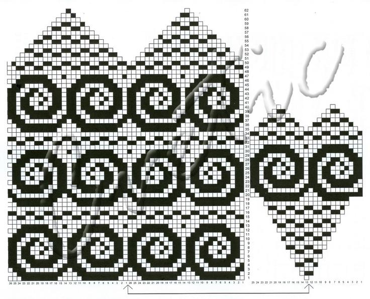 spirals on a mitten pattern