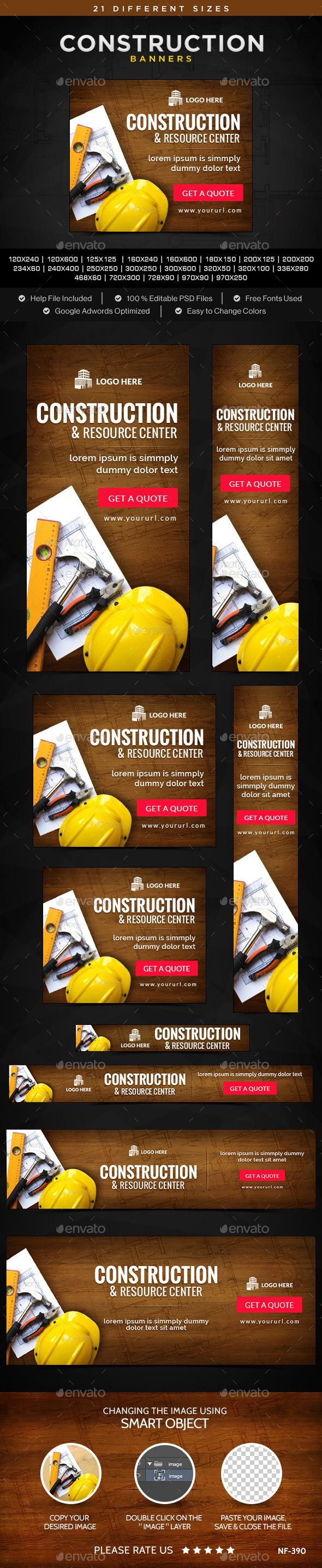 Construction Banners Template #webbanners Download: http://graphicriver.net/item/construction-banners/11469694?ref=ksioks