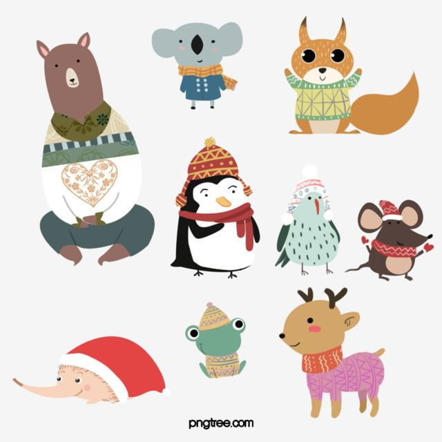 Winter Animals Animal Clipart Winter Sweater Wool Sweater Cap Animal Animals Png Transparent Clipart Image And Psd File For Free Download Animal Clipart Winter Animals Cat Background