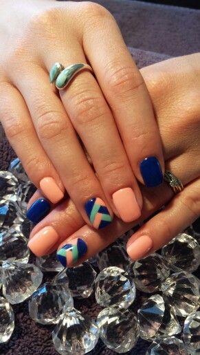 Blue peach criss cross Teal gel nails
