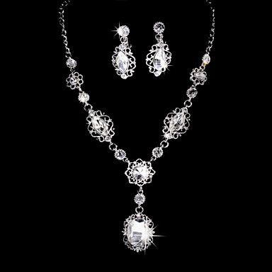 Delicate Alloy Silver Plated Zircon & strass huwelijk bruids sieraden set (inclusief ketting, oorbellen) – EUR € 16.49