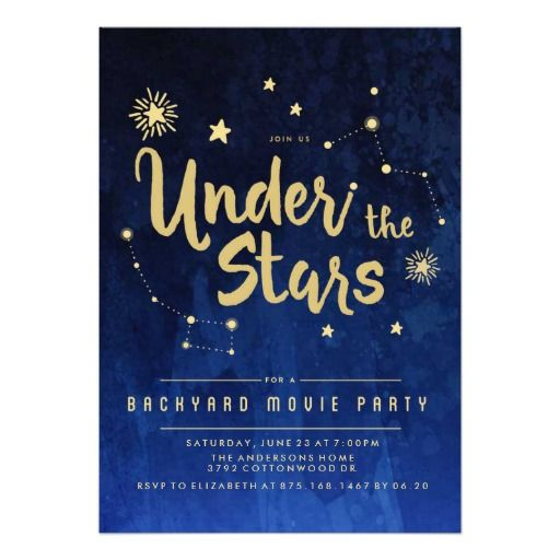 Under the Stars Backyard MOVIE Party Invitation