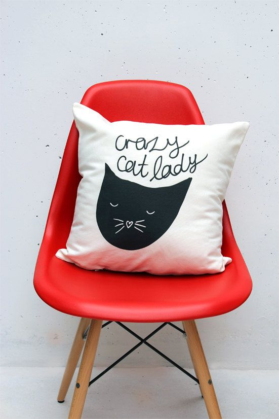 Crazy Cat Lady Throw Cushion Cover 18 x 18 inch by ZanaProducts