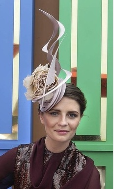 Mischa Barton wearing a Philip Treacy and Ellery dress at the 2012 Melbourne Cup.