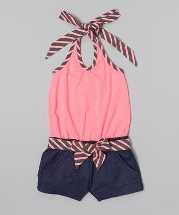 Hot Pink Stripe Belted Halter Romper - Toddler & Girls | Daily deals for moms, babies and kids