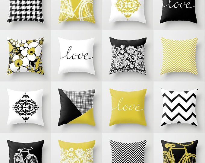 Mustard And Grey Throw Pillow Mix And Match Indoor Outdoor Etsy