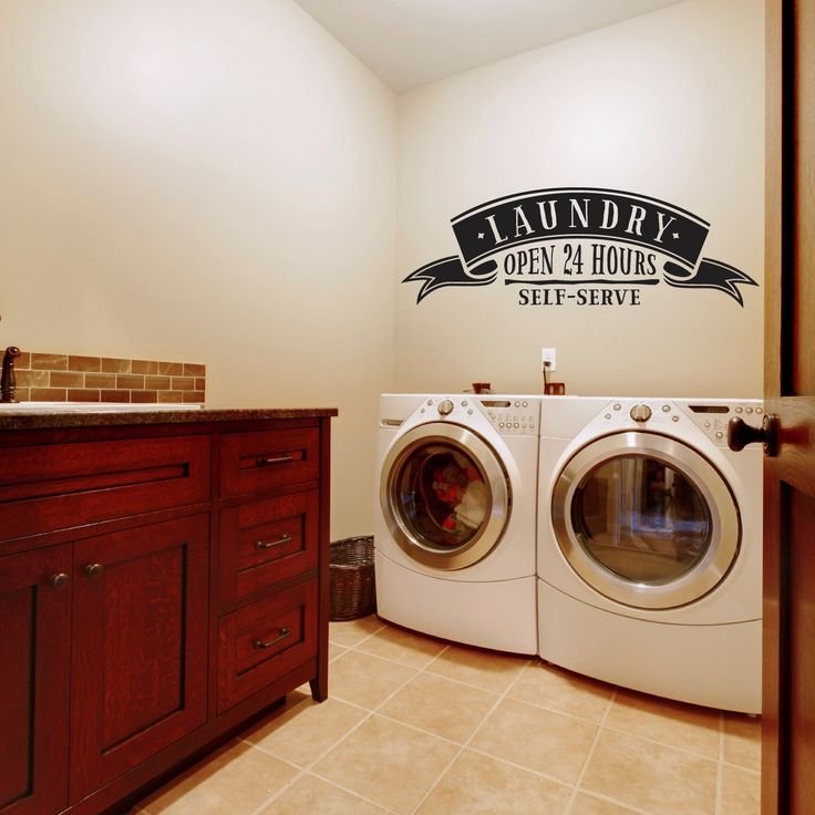 Laundry Room - Self Service Landry Open 24 Hours - Laundry Room Decal - Laundry Room Decor by MyDandelionDecals on Etsy https://www.etsy.com/listing/207418563/laundry-room-self-service-landry-open-24