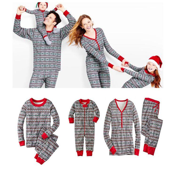 Family Matching Outfits Home Wear Pajamas Cotton Christmas Print Sleepwear Long Sleeve Lounge O-neck Men Women Christmas Costume #Affiliate