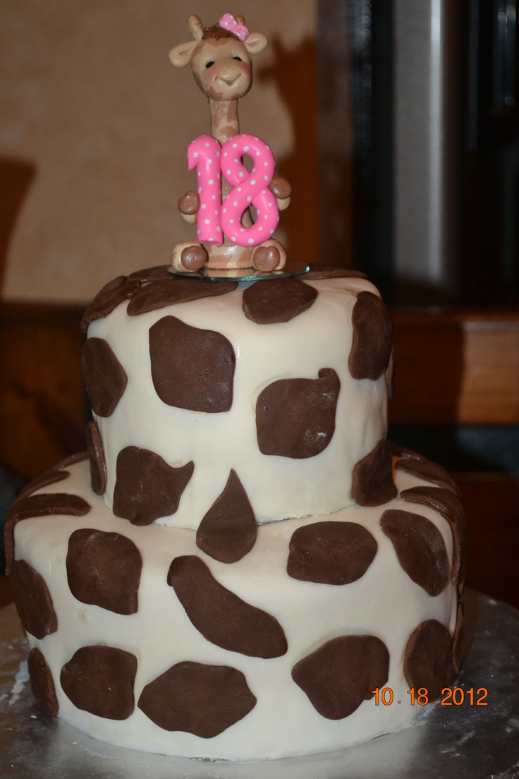 Giraffe birhtday cake byJandC Creations. Topper is by Carolyn at Auctiva.com