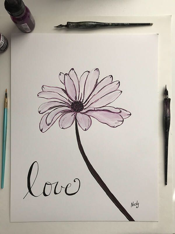 A personal favorite from my Etsy shop https://www.etsy.com/listing/572853194/love-sign-daisy-flower-painting-original