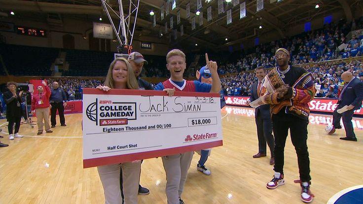 Duke fan drills half-court shot for $18k - ESPN Video