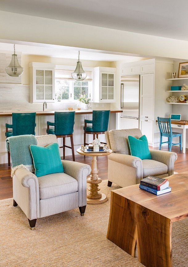 Beach House living room with turquoise, creamy whites ...