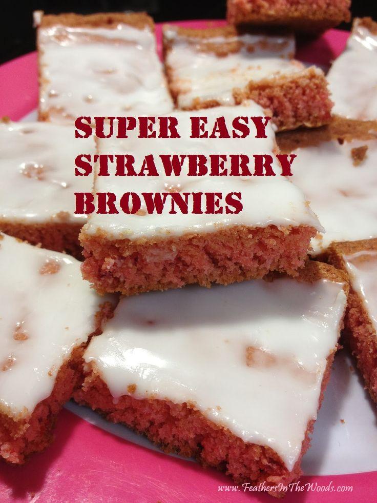 Super Easy Glazed #Strawberry Brownies recipe