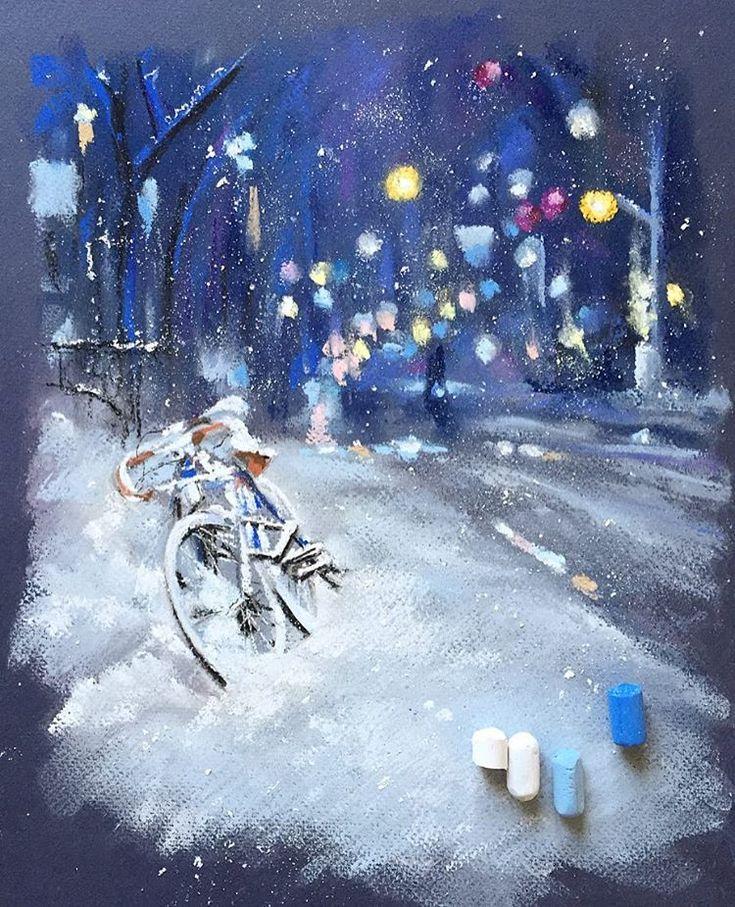 """1,866 Likes, 28 Comments - Elena (@lenokdih) on Instagram: """"С первой рабочей неделей в этом году!✌️#пастель #арт #рисуюпастелью #зима #велосипед #снег…"""""""