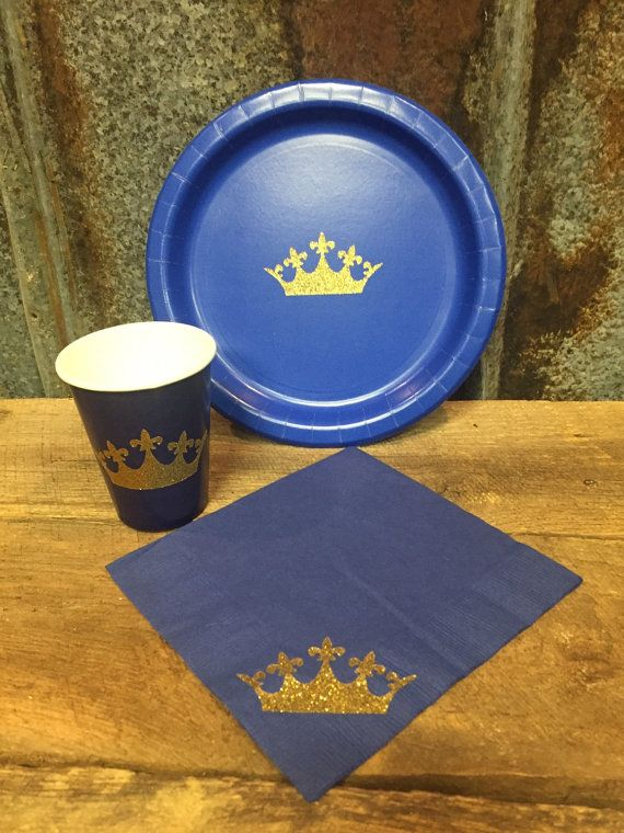 These blue and gold glitter crown party cups, plates, and napkins will add the perfect finishing touch to your little princes birthday party or to a