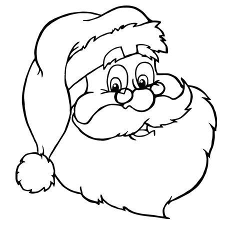 Jolie tête de père Noël a colorier