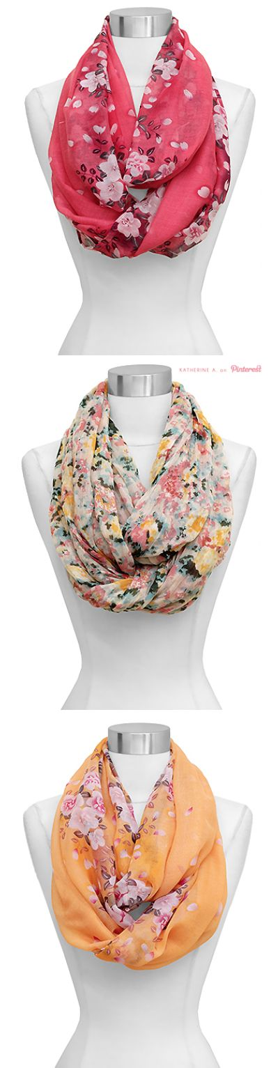 Cute, Floral Infinity Scarves. I love them to bad there $48