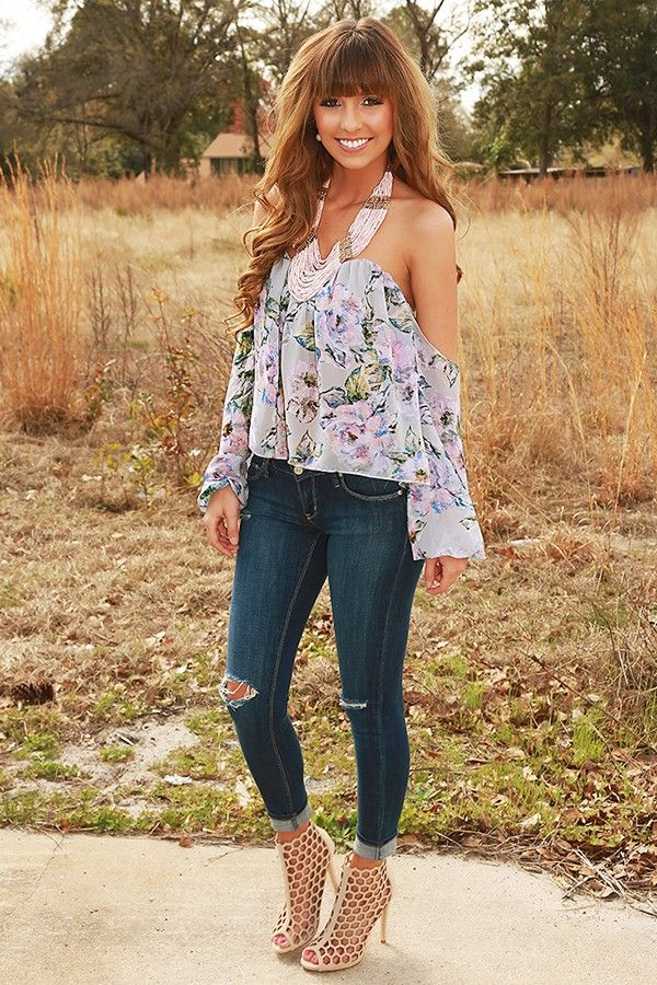 Spring In The Air Top: Gray/Multi #shophopes